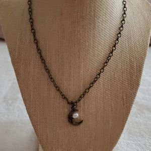 Bronze necklace w cresent moon & pearl charm.